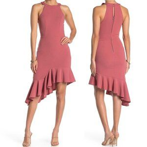 Max + Ash Halter Neck Asymmetric Ruffle Hem Dress